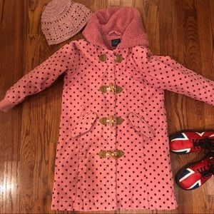 Mini Boden pink polka dot fluffy-lined warm coat
